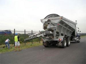 stone-slinger truck